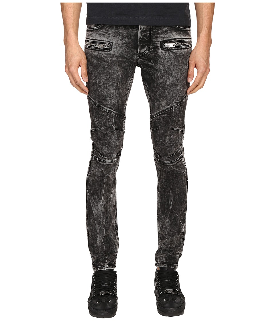Just Cavalli Stripped Effect Moto Jeans (Black) Men