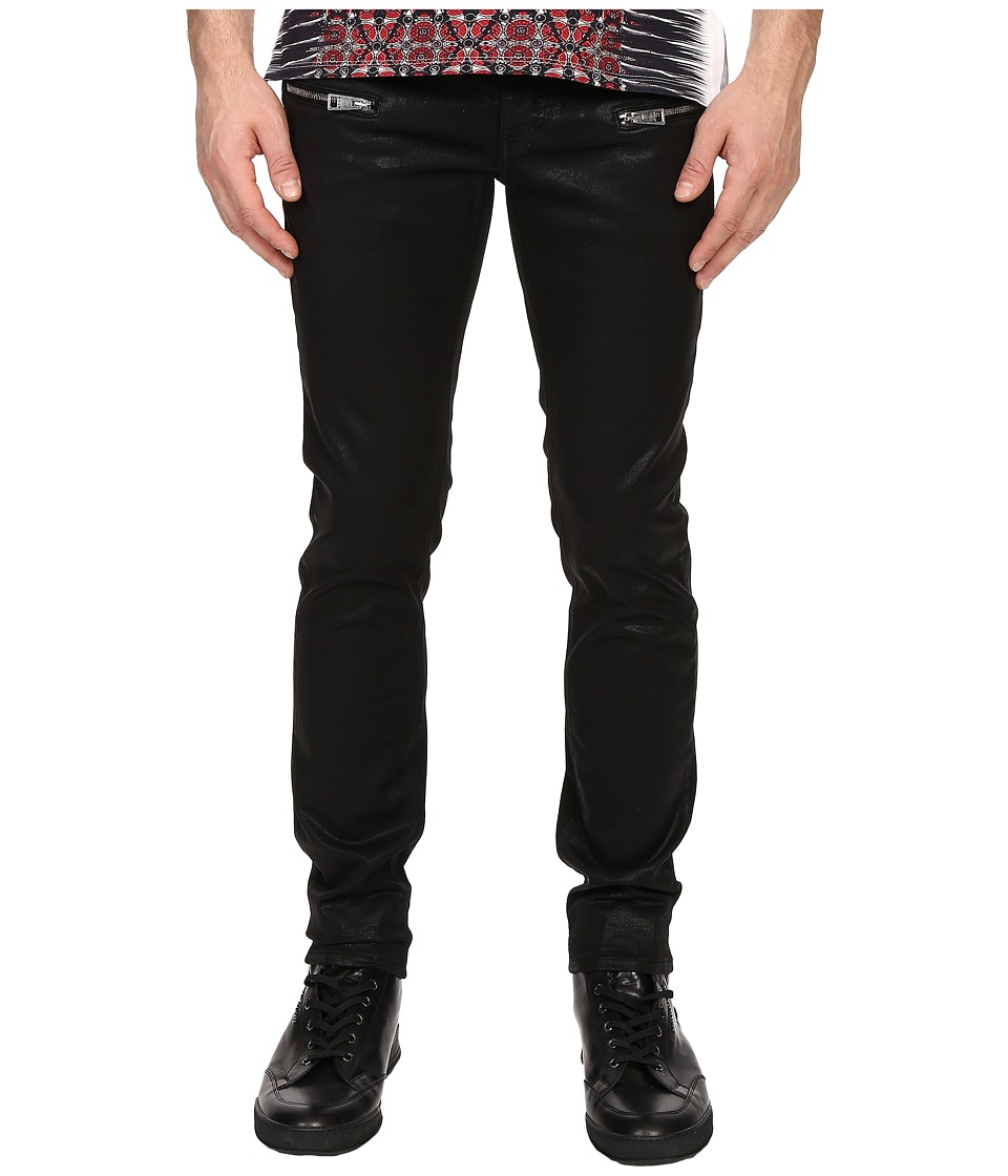 Just Cavalli - Coated Leather Effect Denim (Black) Men's Jeans