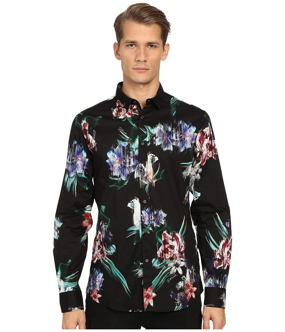 Just Cavalli - Tropical Ikat Print Long Sleeve Woven (Black) Men's Long Sleeve Button Up
