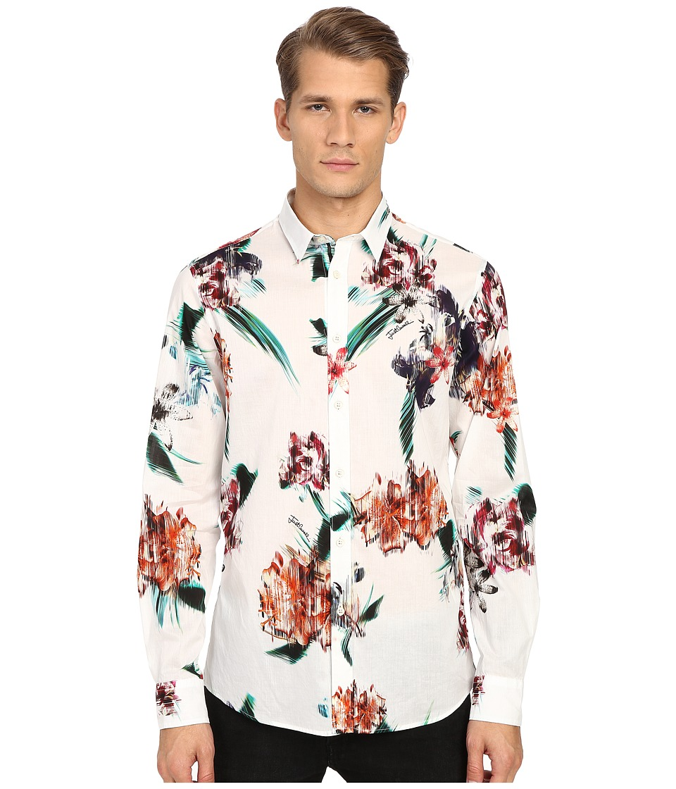 Just Cavalli - Tropical Ikat Print Long Sleeve Woven (White) Men's Long Sleeve Button Up