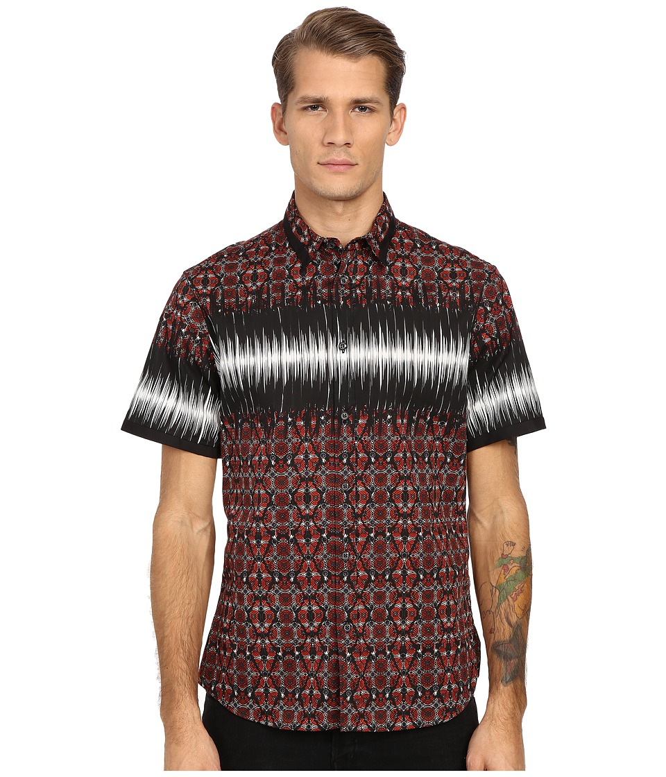 Just Cavalli - Nitik Print Short Sleeve Woven Crinkle Effect (True Red) Men's Short Sleeve Pullover