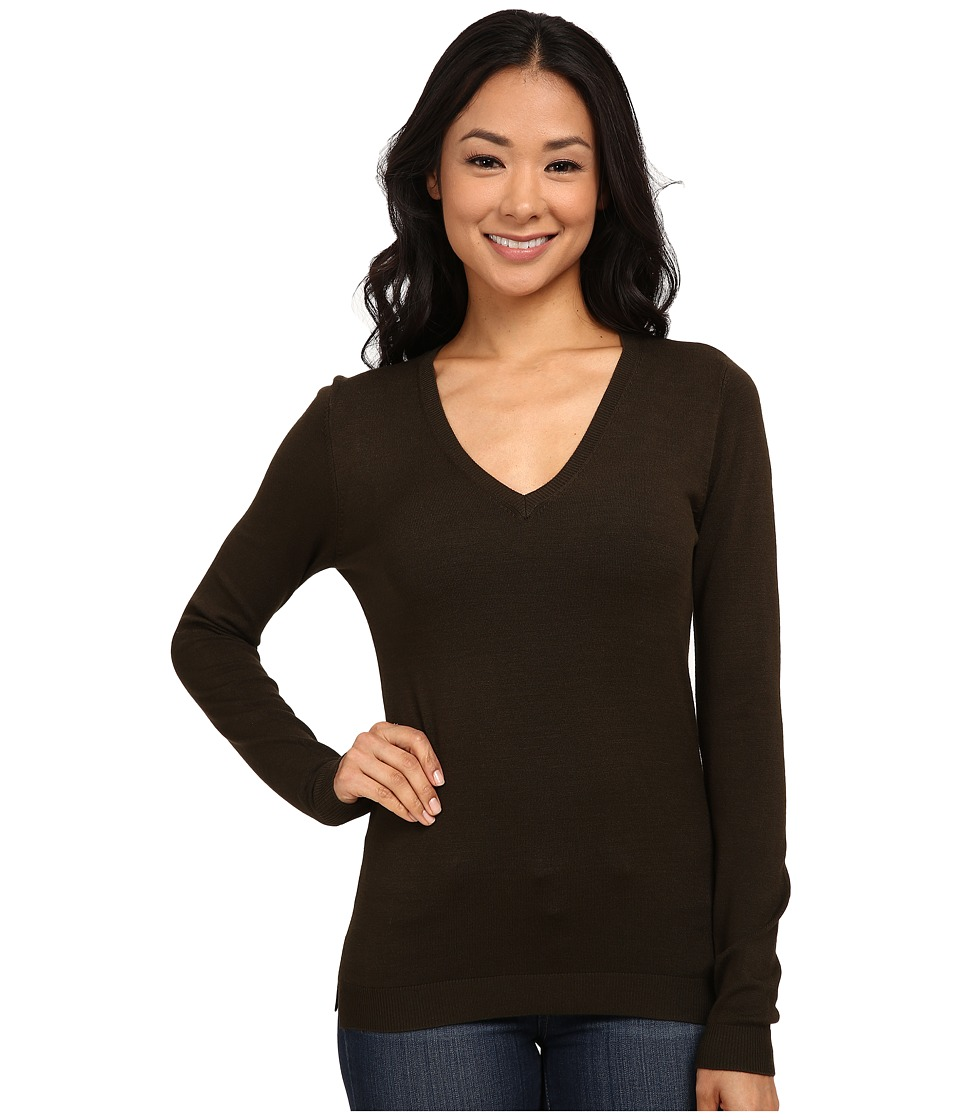 525 america - V-Neck Side Slit (Olive) Women's Long Sleeve Pullover