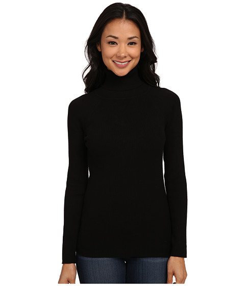 525 america - Turtleneck Rib Solid (Black) Women's Clothing