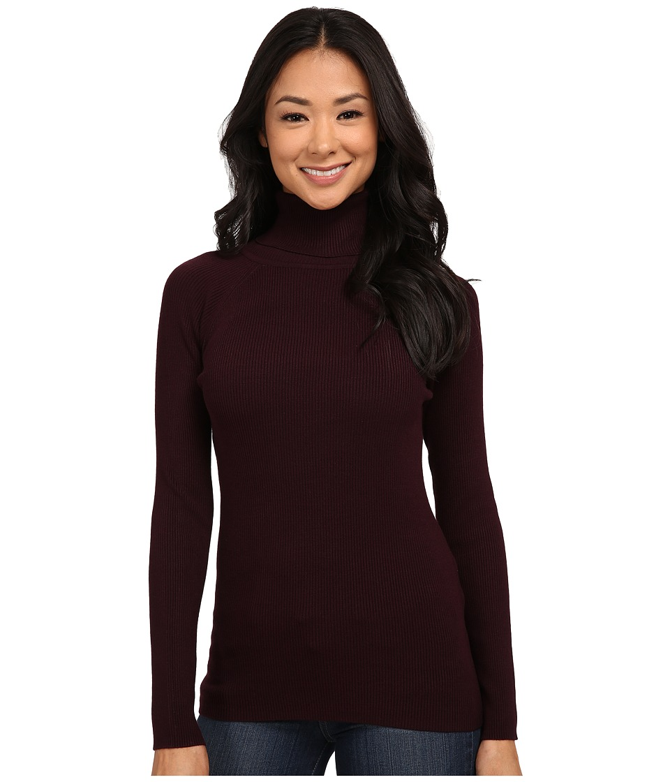 525 america - Turtleneck Rib Solid (Mulberry) Women's Clothing