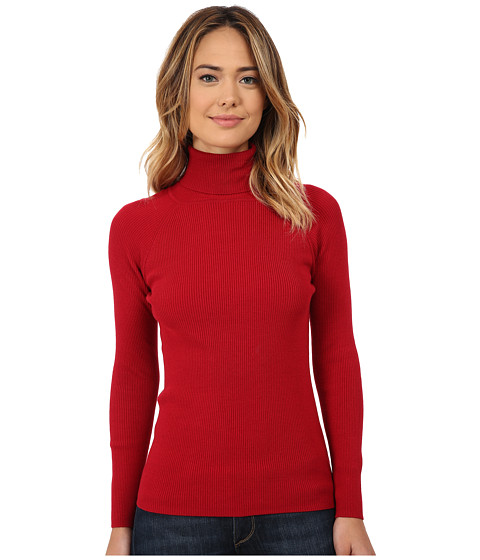 525 america - Turtleneck Rib Solid (Monroe Red) Women's Clothing