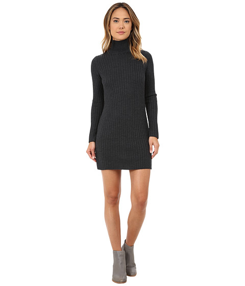 525 america - Rib Mock Neck Dress w/ Side (Dark Grey) Women's Dress