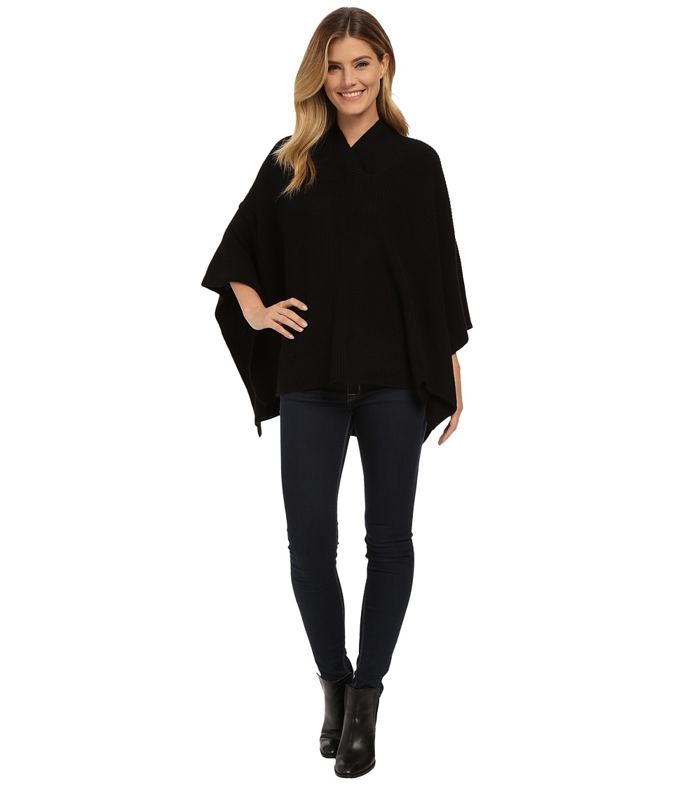 525 america - Hi V-Neck Poncho (Black) Women's Coat