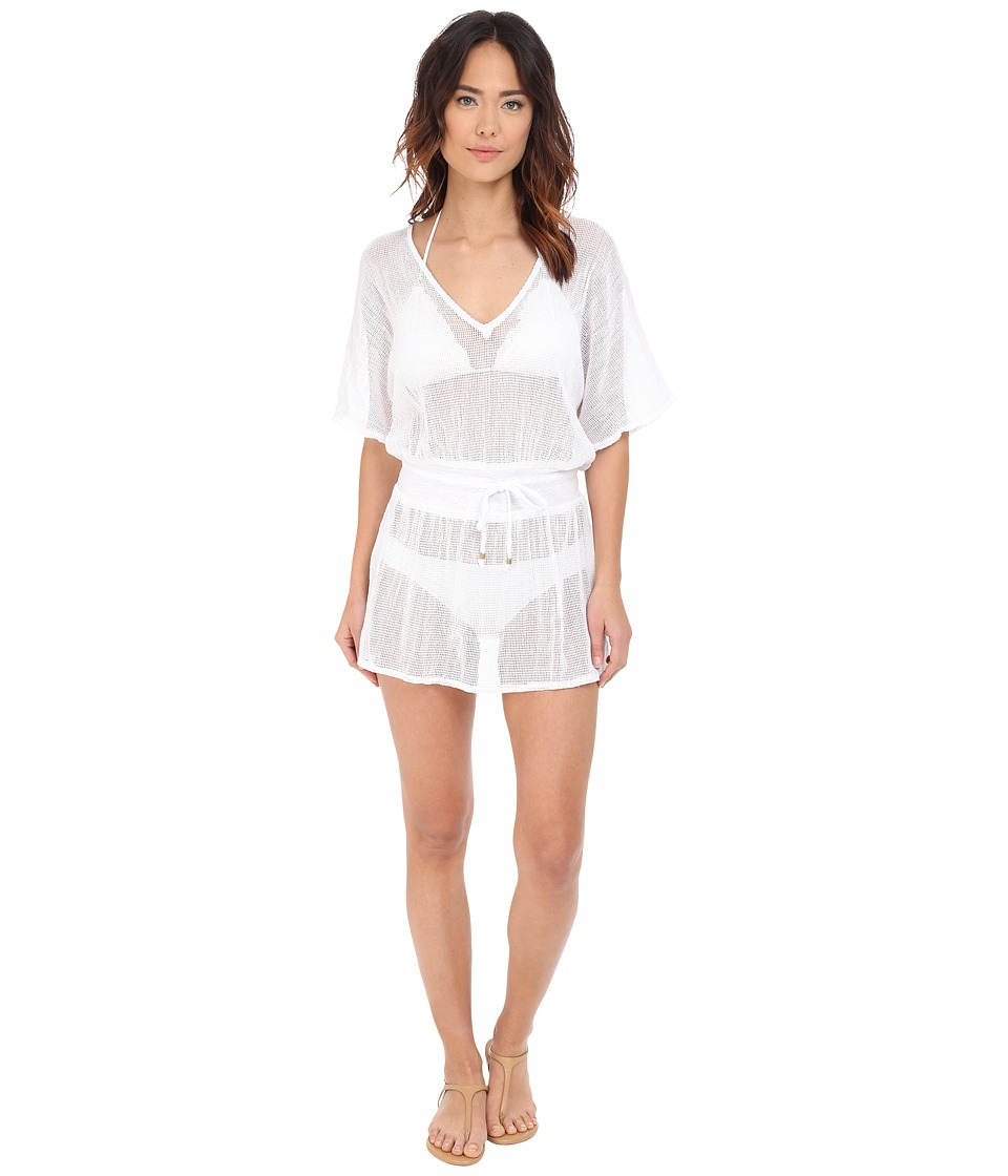 Vitamin A Swimwear Lucette Plunge Tunic Cover-Up (Honeycomb Mesh White) Women