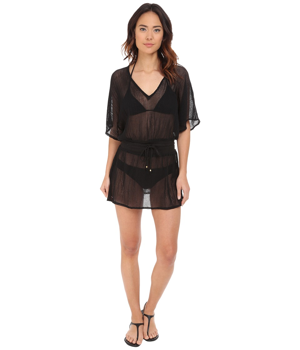 Vitamin A Swimwear - Lucette Plunge Tunic Cover-Up (Honeycomb Mesh Black) Women's Swimwear