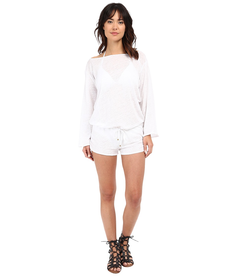 Vitamin A Swimwear - Solana Romper Cover-Up (Eco Linen White) Women's Jumpsuit & Rompers One Piece
