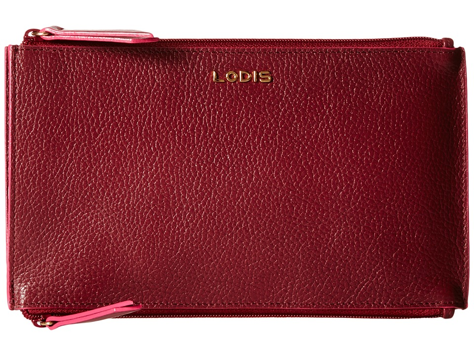 Lodis Accessories - Kate Lani Double Zip Pouch (Burgundy) Wallet Handbags