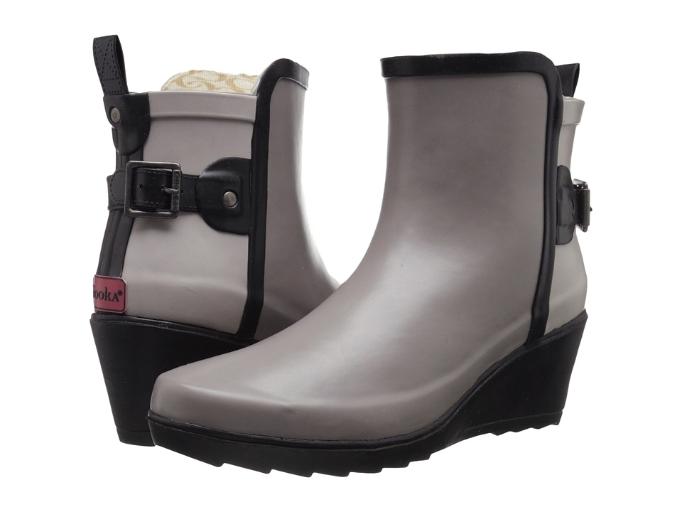 Chooka Color Blocked Wrap Wedge Bootie (Taupe) Women