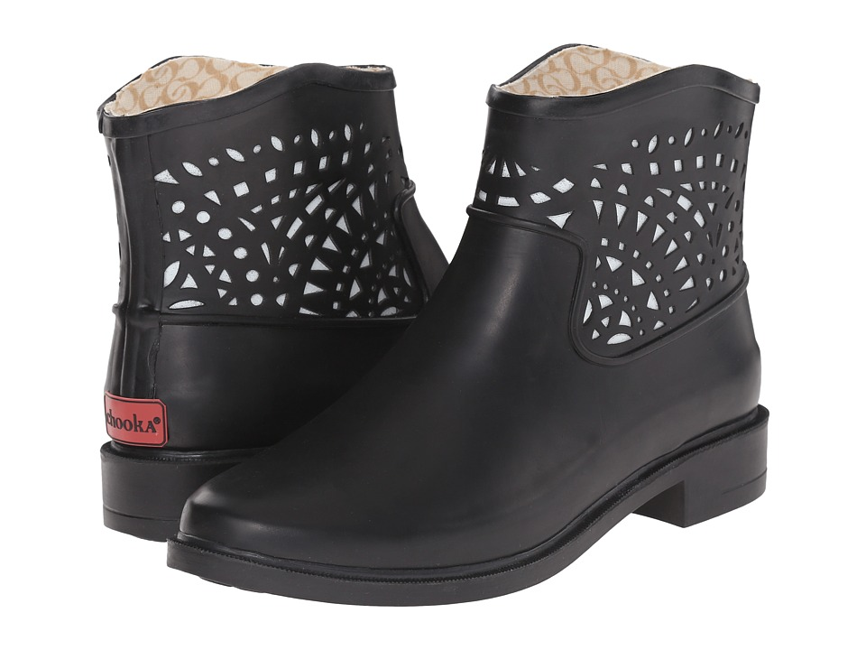 Chooka - Deco Laser Cut Bootie (Black) Women's Rain Boots