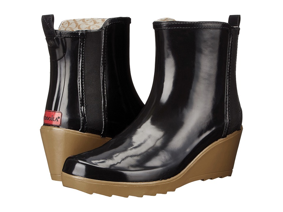 Chooka - Side Gore Wedge (Black) Women's Rain Boots
