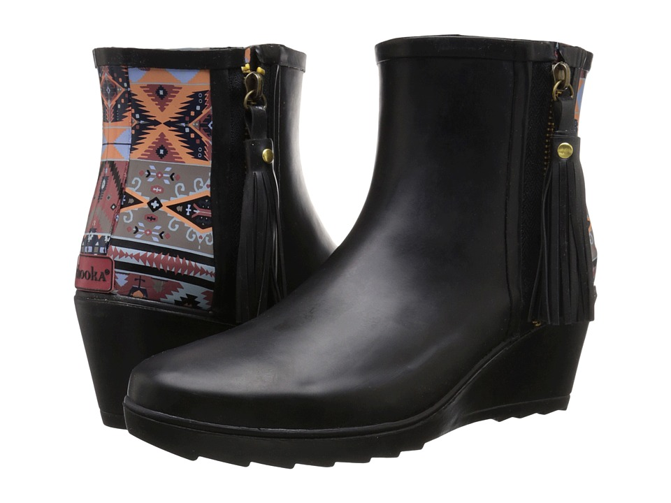 Chooka - Side Zip Tribal Wedge (Black) Women's Rain Boots