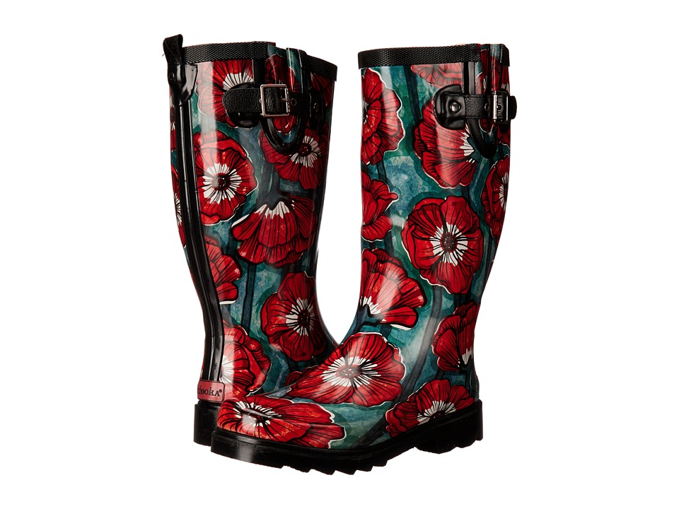 Chooka - Watercolor Poppy (Turquoise) Women's Rain Boots
