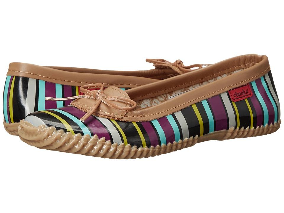 Chooka - Striped Duck Skimmer (Grape) Women's Flat Shoes