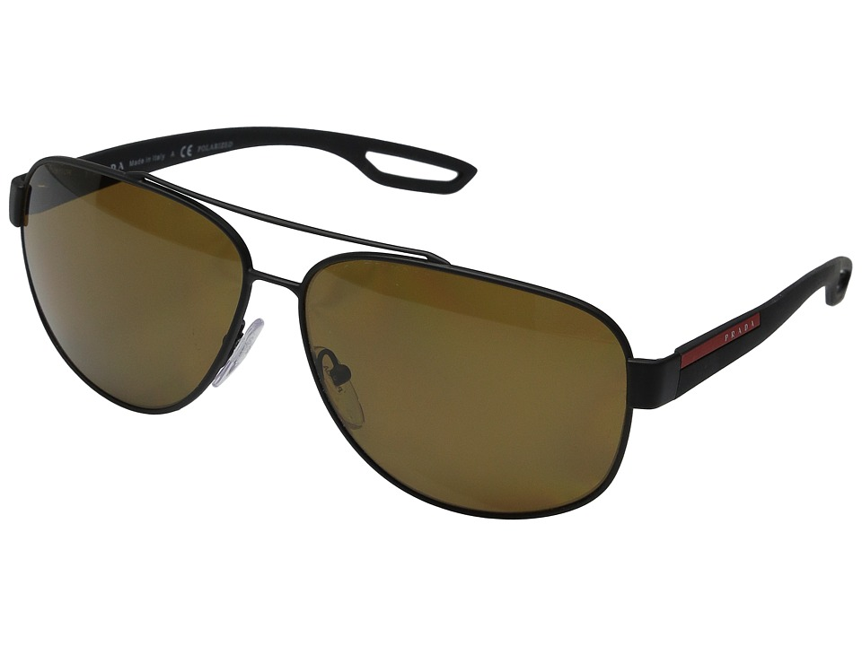 Prada Linea Rossa - 0PS 58QS (Black Rubber/Polarized Brown) Fashion Sunglasses