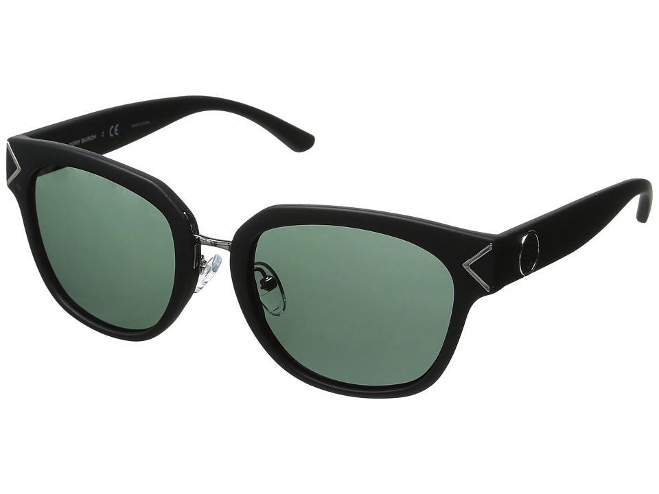 Tory Burch - 0TY9041 (Matte Black/Green Solid) Fashion Sunglasses