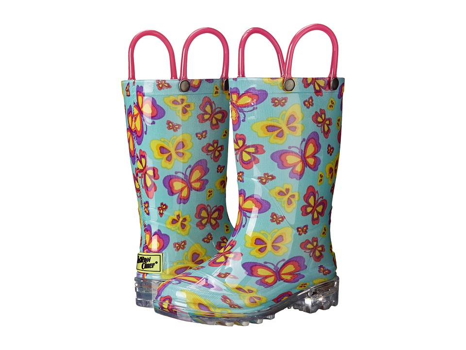 Western Chief Kids - Flutter Fierce Lighted Rain Boot (Toddler/Little Kid) (Teal) Girls Shoes
