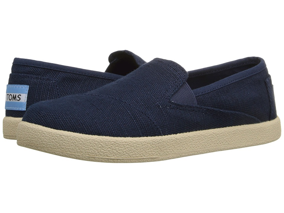 TOMS Kids - Avalon Slip-On (Little Kid/Big Kid) (Navy Burlap) Kids Shoes
