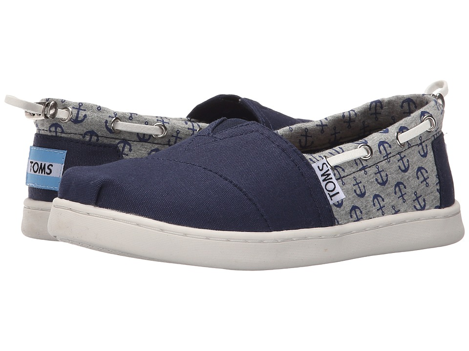 TOMS Kids - Bimini Espadrille (Little Kid/Big Kid) (Navy Canvas/Jersey Anchors) Kids Shoes