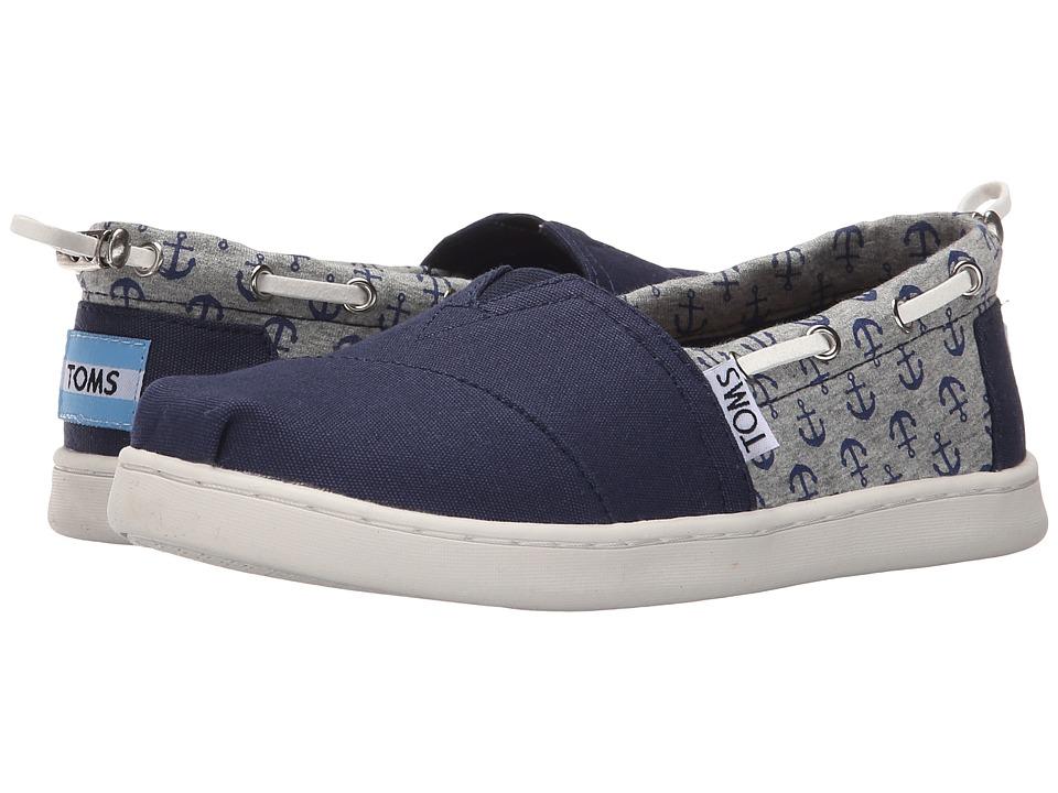 TOMS Kids - Bimini Espadrille (Little Kid/Big Kid) (Navy Canvas/Jersey Anchors) Kids Shoes