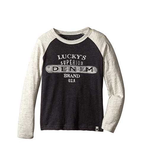 Lucky Brand Kids - Superior Brand Long Sleeve Tee (Little Kid/Big Kid) (Dark Charcoal) Boy