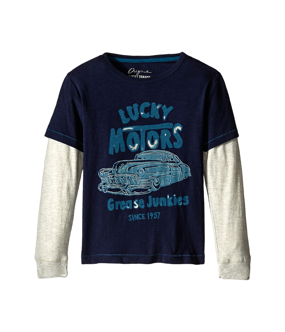Lucky Brand Kids - Grease Junkies Slider (Little Kid/Big Kid) (Black Iris) Boy's T Shirt
