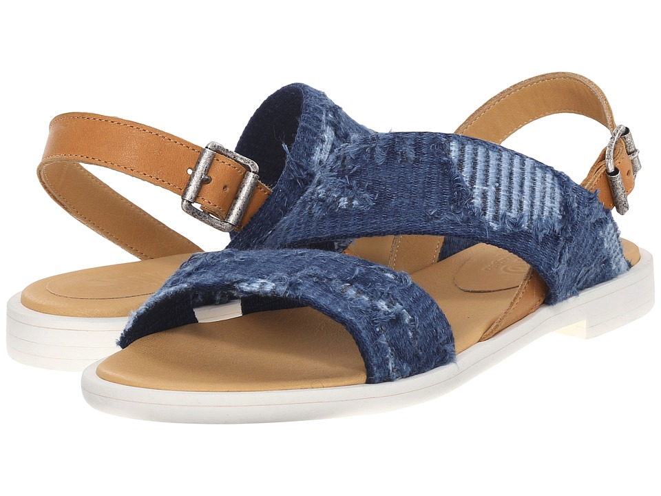 MM6 Maison Margiela - Frayed Denim Flat Sandal (Blue Denim/Tan) Women's Shoes