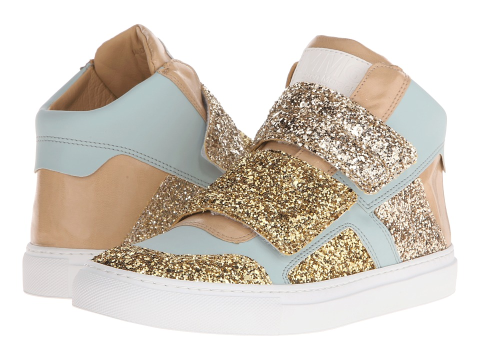 MM6 Maison Margiela - Glitter Strap High Top (Gold/Light Blue/Sand Glitter) Women's Shoes