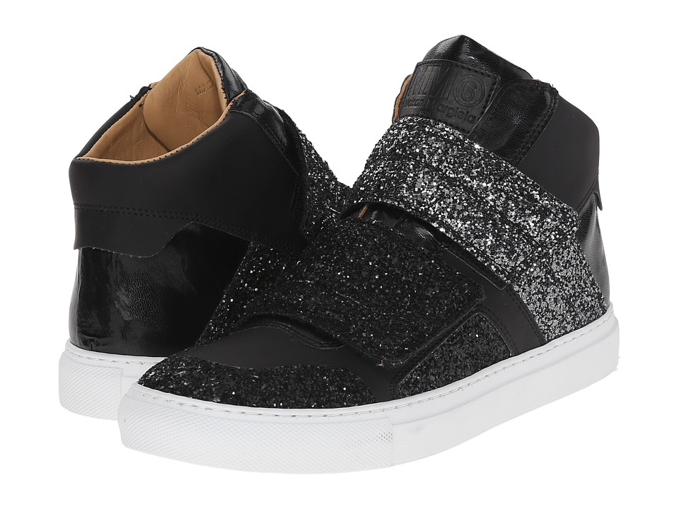 MM6 Maison Margiela - Glitter Strap High Top (Gunmetal/Black Glitter) Women's Shoes