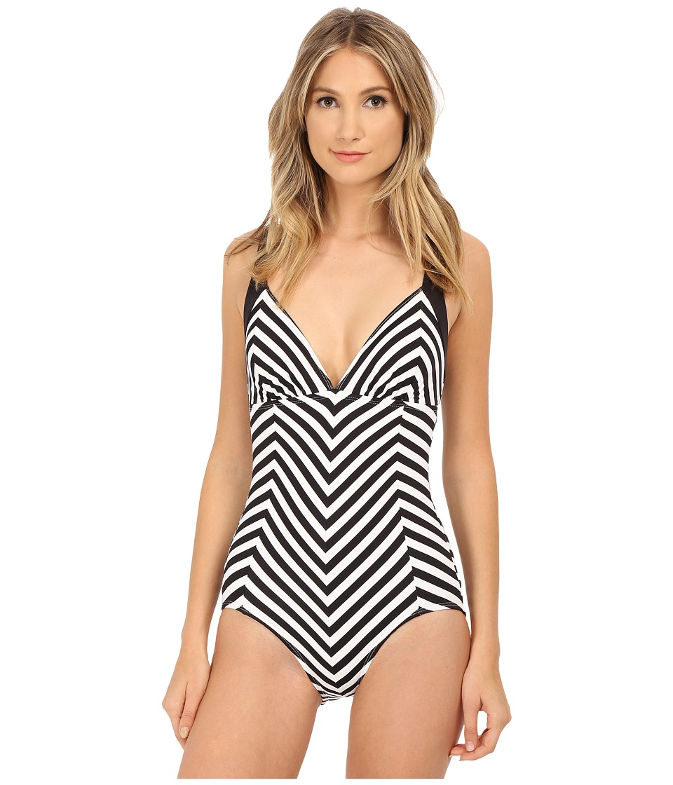 Tommy Bahama - Black White Stripes Over the Shoulder Mitered Cup 1 Piece (White) Women's Swimsuits One Piece