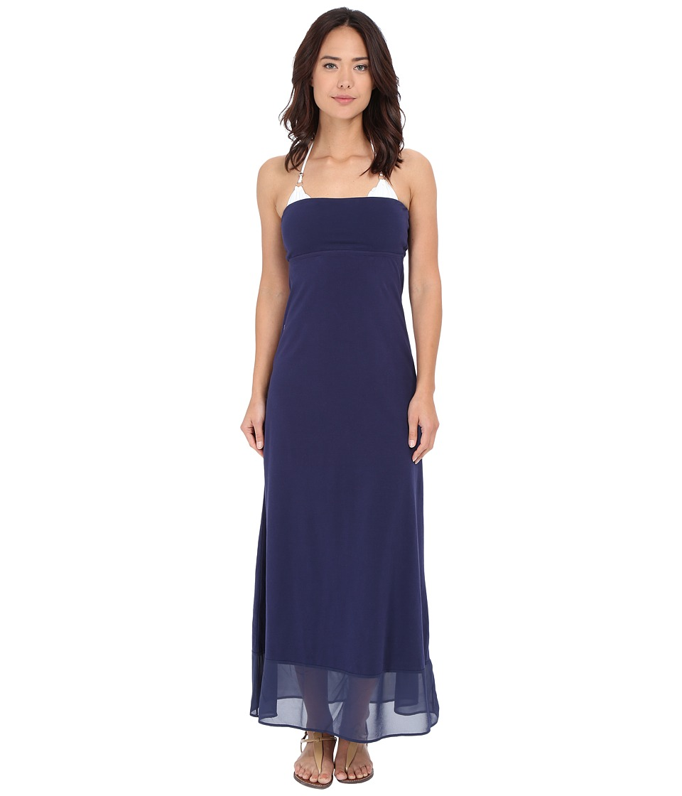 Tommy Bahama - Knit Chiffon Bandeau Long Dress Cover-Up (Mare Navy) Women's Swimwear