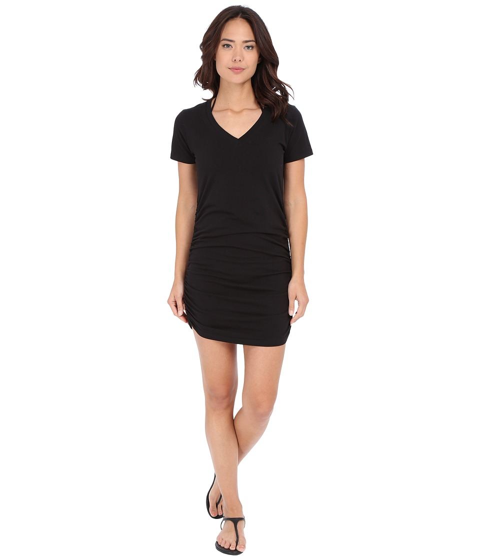 Tommy Bahama - Knit Chiffon Shirred T-Shirt Dress Cover-Up (Black) Women's Swimwear