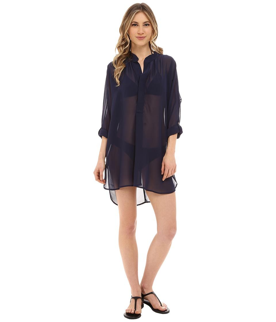 Tommy Bahama - Knit Chiffon Mandarin Collar Tunic Cover-Up (Mare Navy) Women's Swimwear
