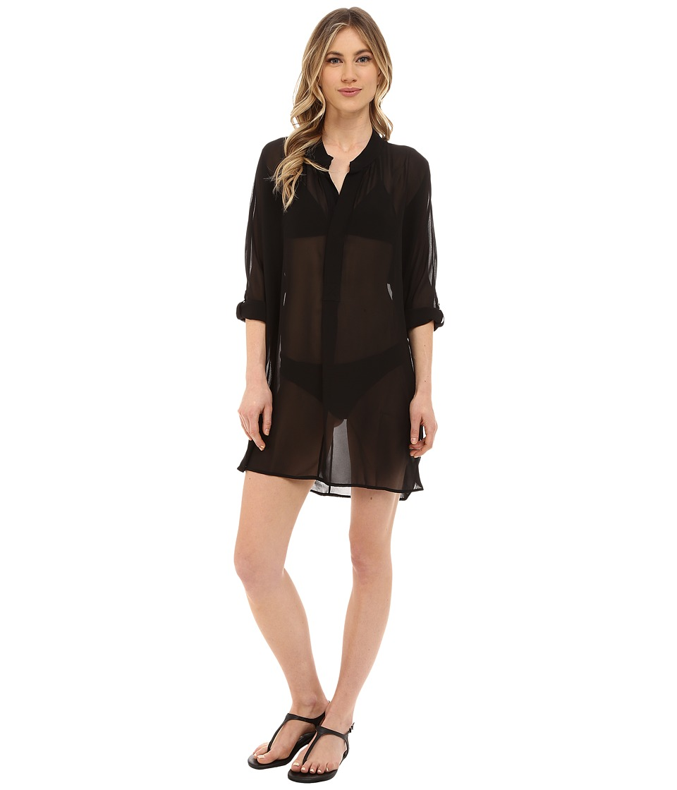 Tommy Bahama - Knit Chiffon Mandarin Collar Tunic Cover-Up (Black) Women's Swimwear
