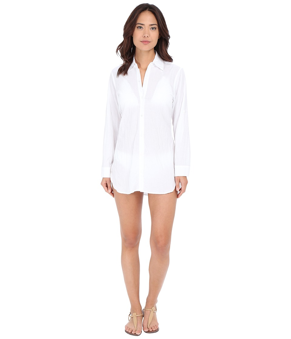 Tommy Bahama - Crinkle Cotton Boyfriend Shirt Cover-Up (White) Women's Swimwear