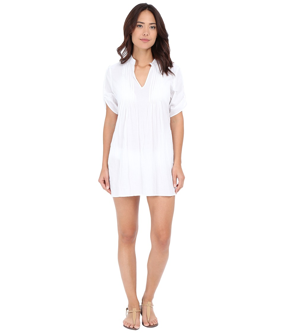 Tommy Bahama - Crinkle Cotton Mandarin Collar Tunic w/ Pintucks Cover-Up (White) Women's Swimwear