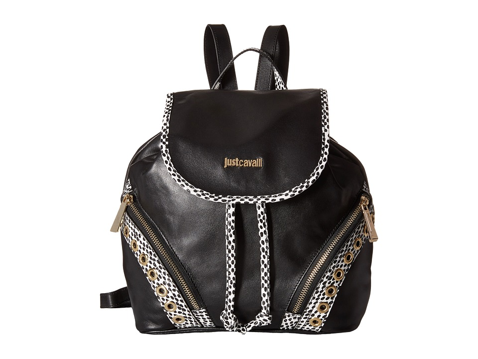 Just Cavalli - Pois Printed Leather (Black) Backpack Bags