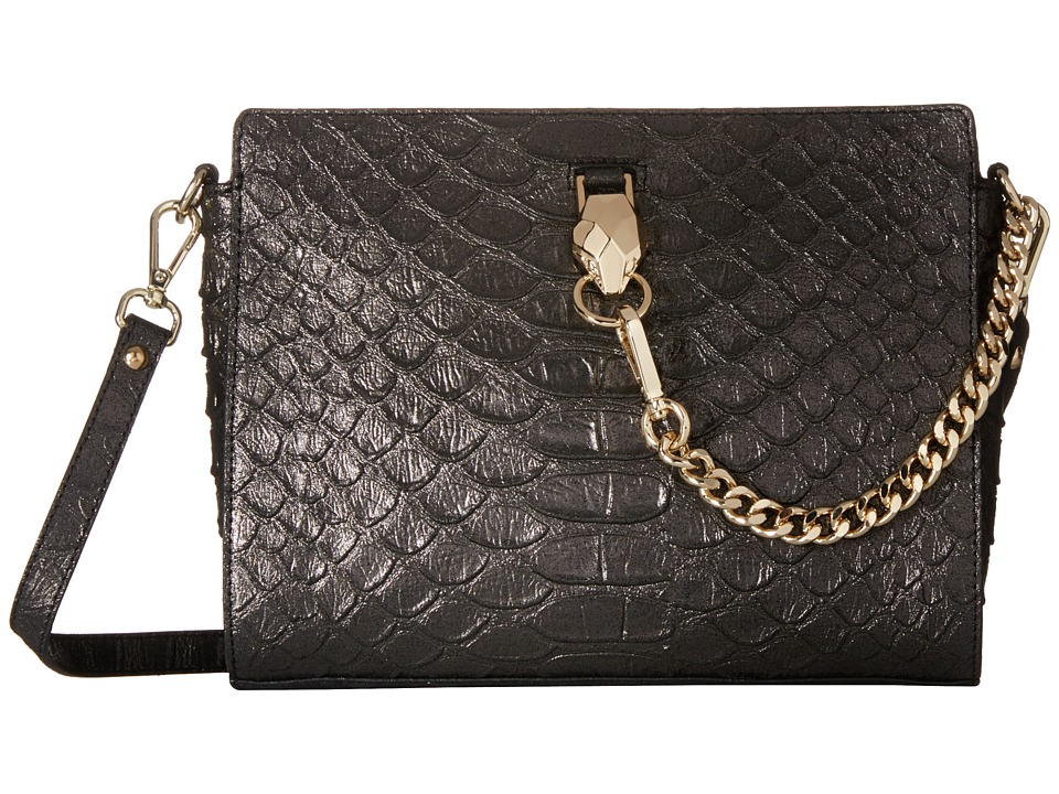 Just Cavalli - Laminated Cobra Nubuck (Black) Cross Body Handbags