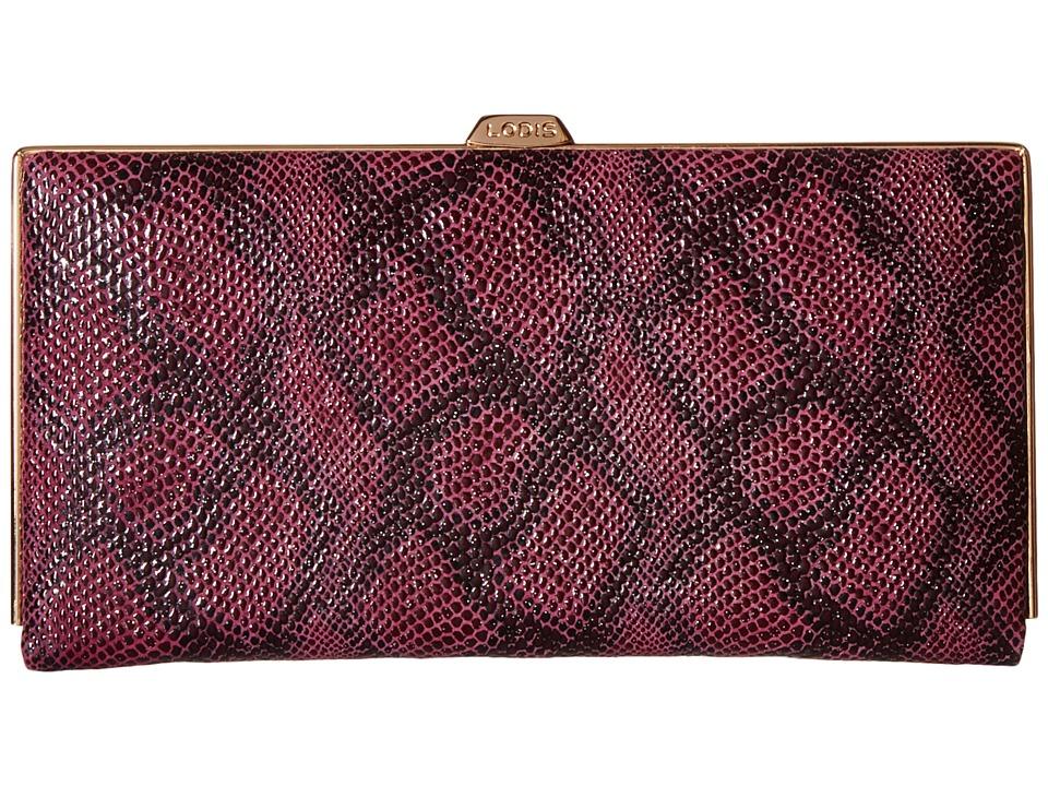 Lodis Accessories - Party Python Quinn Clutch Wallet (Sangria) Wallet Handbags