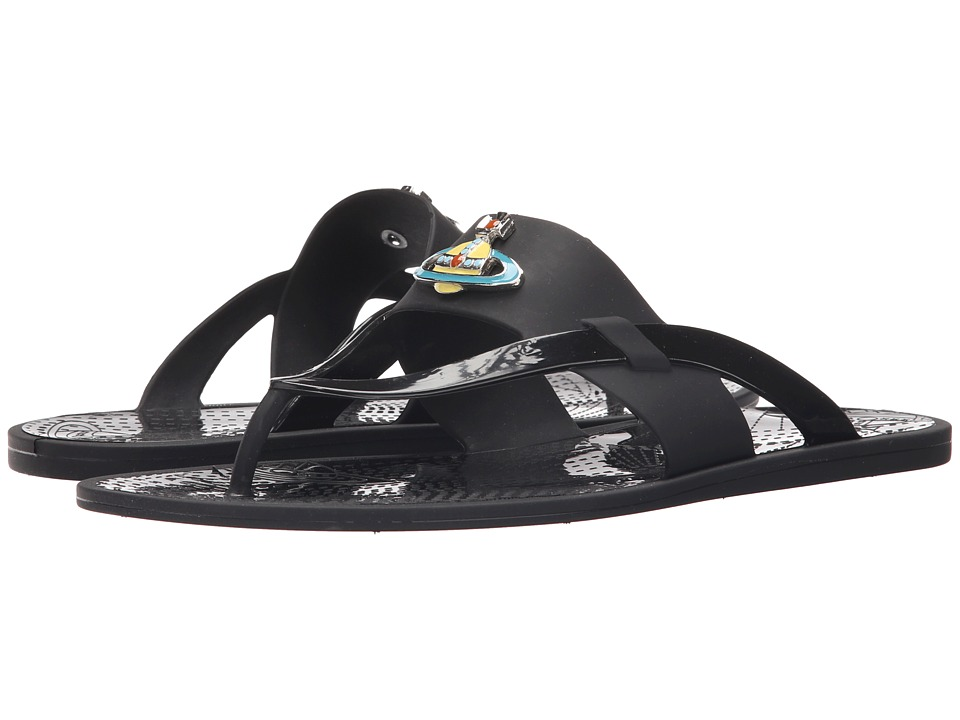 Vivienne Westwood - Orb Enamelled Sandal (Black) Men's Sandals