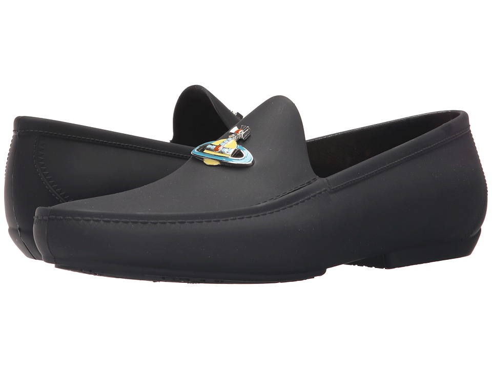 Vivienne Westwood - Orb Enamelled Moccasin (Black) Men's Slip on Shoes