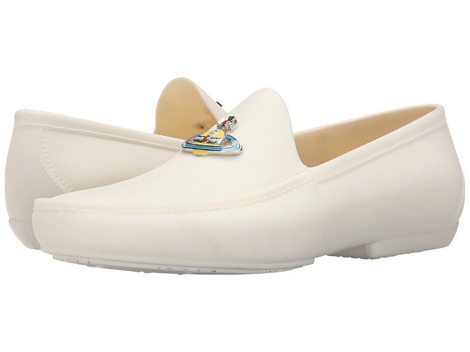 Vivienne Westwood - Orb Enamelled Moccasin (White) Men's Slip on Shoes