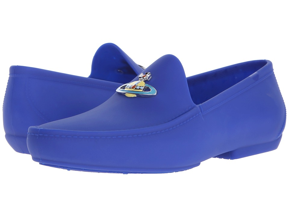 Vivienne Westwood - Orb Enamelled Moccasin (Blue) Men's Slip on Shoes