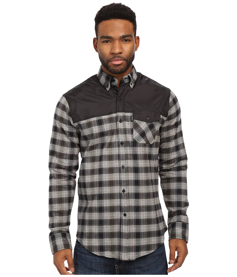Staple - Complex Flannel Shirt (Black) Men's Long Sleeve Button Up