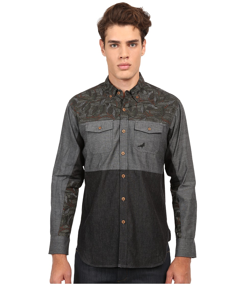 Staple - Mosaic Woven (Grey) Men's Long Sleeve Button Up
