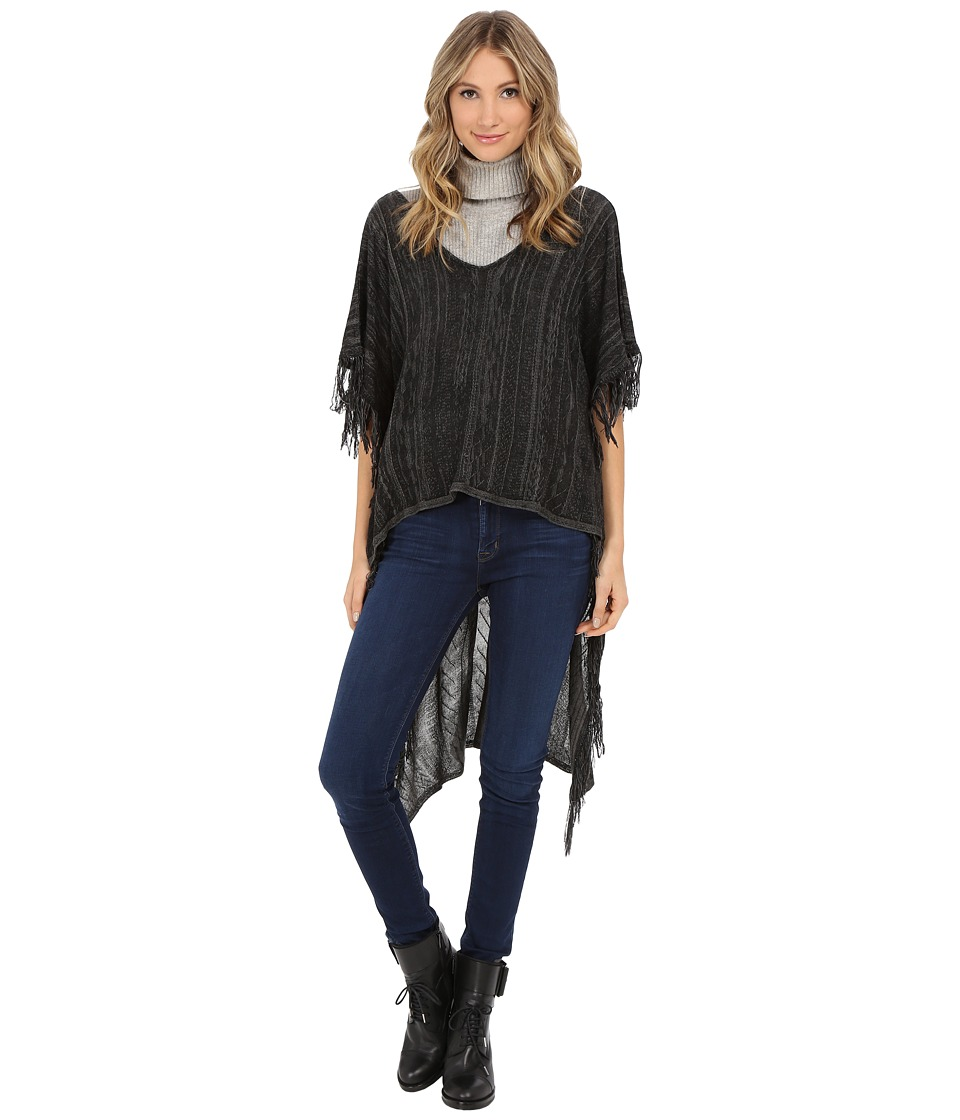 BCBGeneration - Knit High-Low Poncho (Black) Women's Sweater