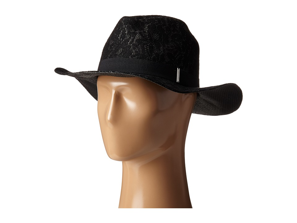 BCBGMAXAZRIA - Lace Overlay Hat (Black) Traditional Hats